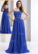 Simple Strapless Empire Blue Prom Junior Dresses with Ruching and Beading for 2016