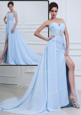 The Super Hot Brush Train Sweetheart Beading Prom Dresses in Light Blue