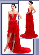 Beautiful Cheap High Low Beading and Ruffled Layers 2016 Prom Dresses in Red