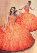 2016 Pretty Ball Gown Beading and Ruffles Sweet 16 Dresses