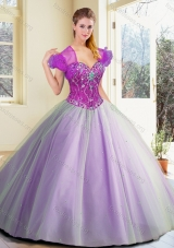 2016 Pretty Floor Length Lavender Sweet 16 Dresses with Beading
