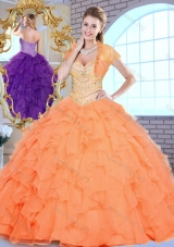 2016 Pretty Sweetheart Beading and Ruffles Sweet 16 Dresses in Orange