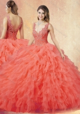 2016 Pretty V Neck Sweet 16 Dresses with Ruffles and Appliques