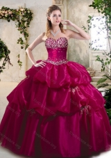 Pretty Ball Gown Sweet 16 Gowns with Beading and Pick Ups