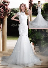2016 Luxurious Mermaid High Neck Beading Wedding Dresses with Brush Train