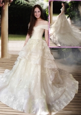 2016 New Style A Line Court Train Wedding Dresses with Off the Shoulder
