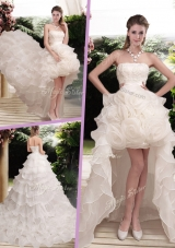 2016 Classical Hand Made Flowers Strapless Wedding Dresses with Ruffled Layers