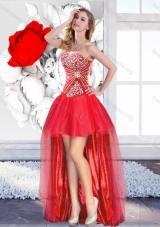 Classical Red High Low 2016 Designer Prom Dresses with A Line