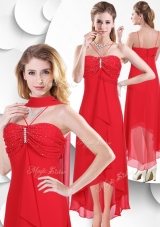 2016 Best Spaghetti Straps High Low Red New Style Prom Dresses with Beading