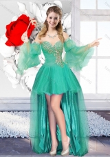 2016 Perfect Beaded Sweetheart New Style Prom Dresses with High Low