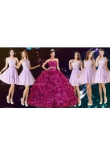Gorgeous Ruffled and Beaded Fuchsia Quinceanera Dress and Laced Lavender Short Dama Dresses