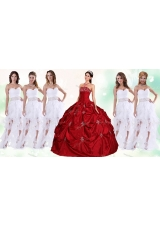 Lovely Taffeta Applique and Beaded Red Quinceanera Dress and Asymmetrical White Dama Dresses