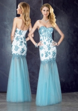 2016 Beautiful Column Applique Aqua Blue Prom Dress in Tulle