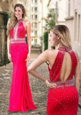 2016 Column High Neck Backless Beaded Coral Red Prom Dress