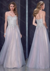2016 Custom Made Empire Applique Silver Prom Dress in Tulle