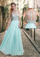 2016 Latest See Through Scoop Beaded Prom Dress in Aqua Blue