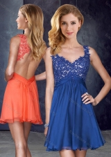 2016 Straps Backless Royal Blue Prom Dress with Appliques and Belt