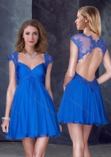 2016 V Neck Backless Blue Prom Dress with Appliques and Beading