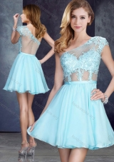 2016 Cheap See Through One Shoulder Applique Prom Dress in Aqua Blue