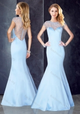 2016 Cheap Through Back Beaded Light Blue Prom Dress with Cap Sleeves