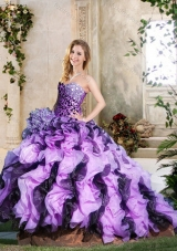 Leopard and Ruffled Lavender and Dark Purple Quinceanera Gown with Brush Train