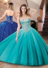 Lovely Big Puffy Tulle Aqua Blue Quinceanera Dress with Beading