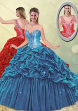 Elegant Puffy Skirt Beaded Teal Quinceanera Dress with Brush Train