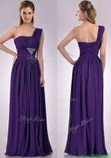 Discount Empire Beaded and Ruched Dark Purple Bridesmaid Dress with One Shoulder