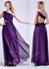 Elegant One Shoulder Criss Cross Purple Prom Dress with Beading