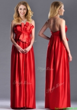 Gorgeous Empire Red Long Mother Dress in Elastic Woven Satin