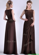 Modest Bateau Brown Chiffon Long Mother Dress with Zipper Up