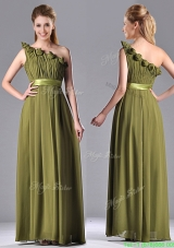 Most Popular Empire One Shoulder Ruched and Belt Mother Dress in Olive Green