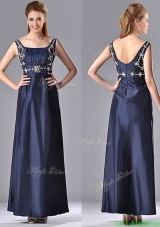 Most Popular Empire Square Taffeta Beading Long Mother Dress in Navy Blue