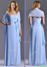 Elegant Empire Light Blue Long Mother Dress with Handcrafted Flowers