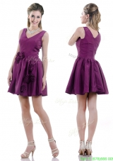 Exquisite V Neck Taffeta Purple Junior Prom Dress with Handcrafted Flowers