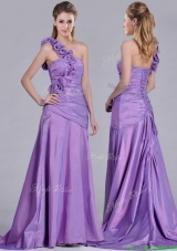 Lovely Brush Train Lilac Prom Dress with Hand Made Flowers Decorated One Shoulder