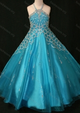 Beaded Decorated Halter Top and Bodice Teal Girls Party Dress with Criss Cross