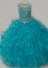 Beautiful Ball Gown Scoop Beaded Bodice Girls Party Dress with Lace Up