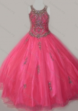 Beautiful Ball Gown Scoop Floor-length Beaded Lace Up Girls Party Dress in Organza