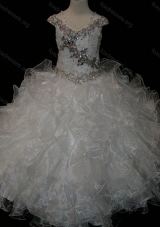 Big Puffy V-neck Ruffled Flower Girl  Dress with Spaghetti Straps and Sequins