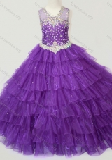 Classical Beaded and Ruffled Layers Girls Party Dress in Purple