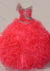 CoraL Red Ball Gown V Neck Organza Beading Girls Party Dress with Lace Up