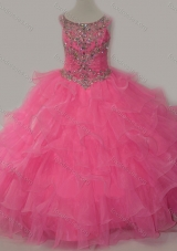 Discount Puffy Skirt Ruffled Layers Girls Party Dress in Rose Pi