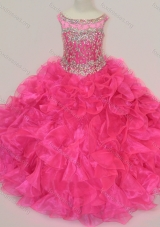Exclusive Scoop Hot Pink Girls Party Dress with Beading and Ruffles