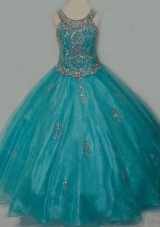 New Arrival Ball Gown Scoop Organza Long Lace Up Girls Party Dress with Beading