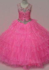 Pretty Rose Pink Girls Party Dress with Beading and Ruffled Layers
