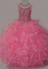Rose Pink Ball Gown Scoop Beaded Bodice Lace Up Girls Party Dress