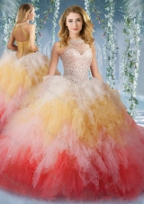 2016 Pretty Halter Top Rainbow Sweet 16 Dress with Beading and Ruffles 235.62