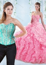 Discount Beaded Bodice Visible Boning Rose Pink Detachable Sweet 16 Dress