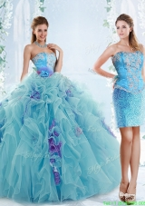Exquisite Applique Bodice Aqua Blue Detachable Quinceanera Gowns in Organza